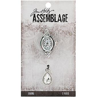 Tim Holtz Assemblage Charms 2/Pkg-Watch Face & Droplet THA20138
