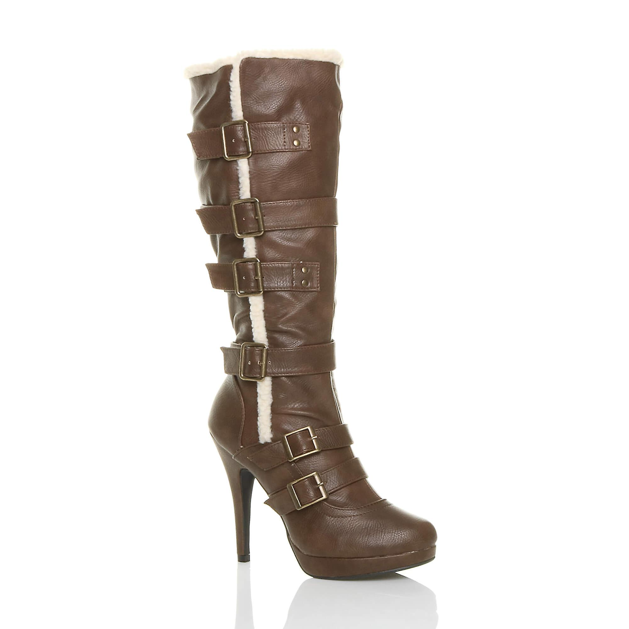 Ajvani womens aviator shearling fur winter biker zip high heel platform knee boots