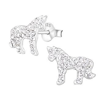Unicorn - 925 Sterling Silver Crystal Ear Studs