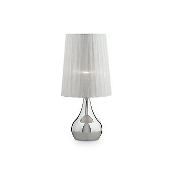Ideal Lux Eternity Modern Chrome Table Lamp With Large Shade