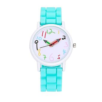 First Kids Childrens Girls Boys Watch Light Blue Crayon Paint Colour Pencil Tell Time