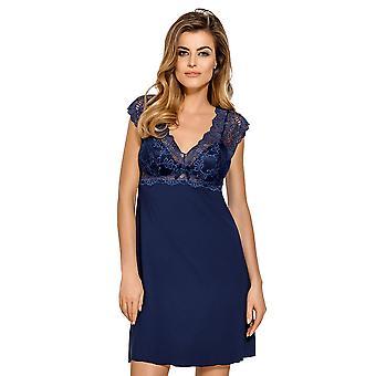 Nipplex CLA-GRN-KOS Women's Clara Navy Blue Lace Night Gown Loungewear Nightdress