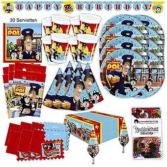 Postmannen Pat partiet satt XL 63-teilig for 6 personer innlegget Messenger partiet bursdag dekorasjon party pakken