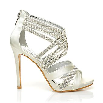 SONIA Ivory Diamante Encrusted Satin High Heel Platform Strappy Sandals