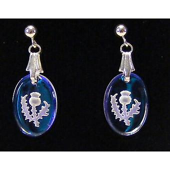 Ice Blue Thistle Oval Crystal Earrings