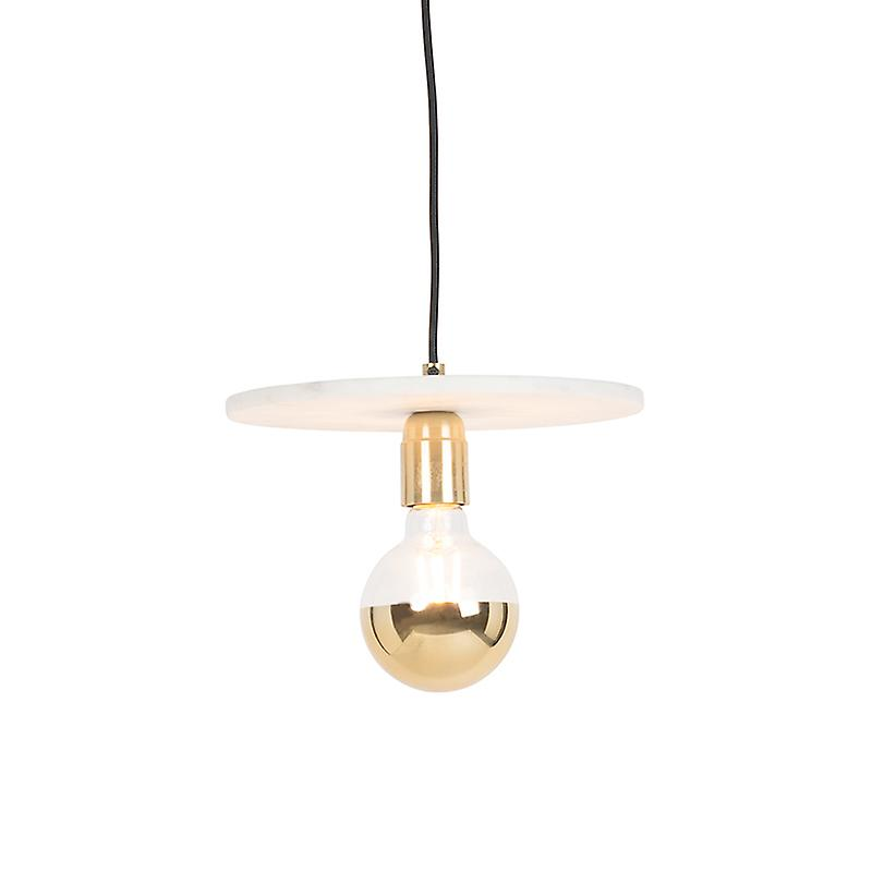 QAZQA Modern Pendant Lamp Brass and Marble - Disc