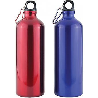 Yellowstone 1L Drinks Bottle With Carabina Blue & Red 2 Pack