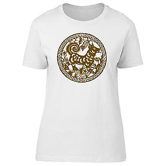 Chinese Art Floral Dog Tee Women's -Image by Shutterstock