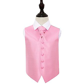 Baby Pink Greek Key Wedding Waistcoat & Cravat Set for Boys