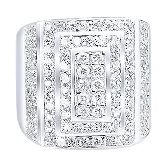 Sterling 925 Silver pave ring - LONG ICE