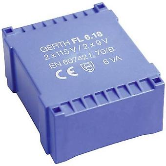 PCB mount transformer 2 x 115 V 2 x 15 V AC 6 VA 200 mA FL6.30 Gerth