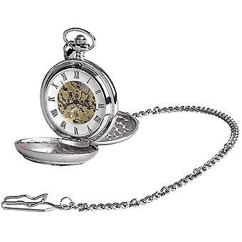 Woodford Musical Chrome Plated Double Full Hunter Skeleton Pocket Watch - Silver