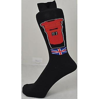 Union Jack Wear Red Post Box Men's Socks With Union Jack Motiff