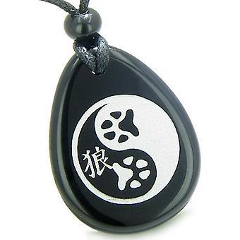 Amulet ulv pote Yin Yang magiske Kanji åndelig Balance beføjelser Onyx Totem sten vedhæng halskæde