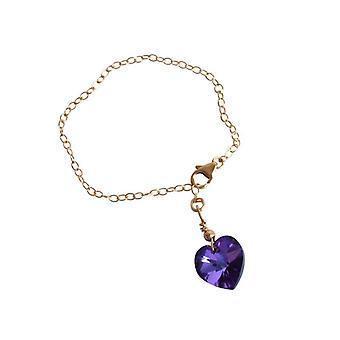 Hjertet armbånd blå violet krystal element MALI hjerte guld belagte armringe