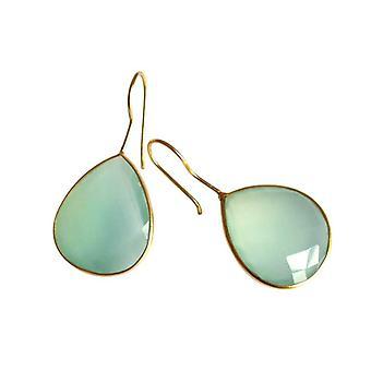 Chalcedony øreringe gemstone øreringe sarte grønne guld belagte