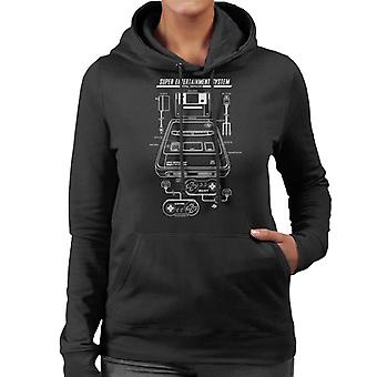 Nintendo PAL Super NES SNES Patent Blueprint Women's Hooded Sweatshirt