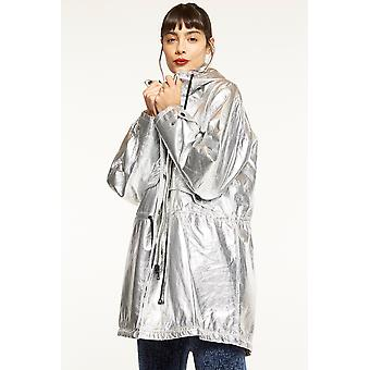 Elli White Metallic Anorak