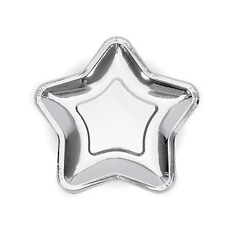 Silver Star Paper Party Plates x 6 Christmas / Birthday