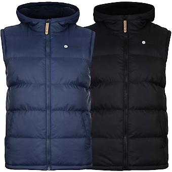 Lambretta Mens Target Logo Full Zip Quilted Padded Hooded Gilet Body Warmer