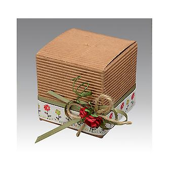 10 Corrugated Kraft Card Gift Boxes with Lids - 6cm Cube | Cardboard Gift Boxes