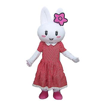 SPOTSOUND White Rabbit mascot, with a red dress with polka dots