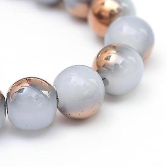 Strand 95+ Pale Grey/Gold Imitation Jade 8mm Plain Round Beads Y07880