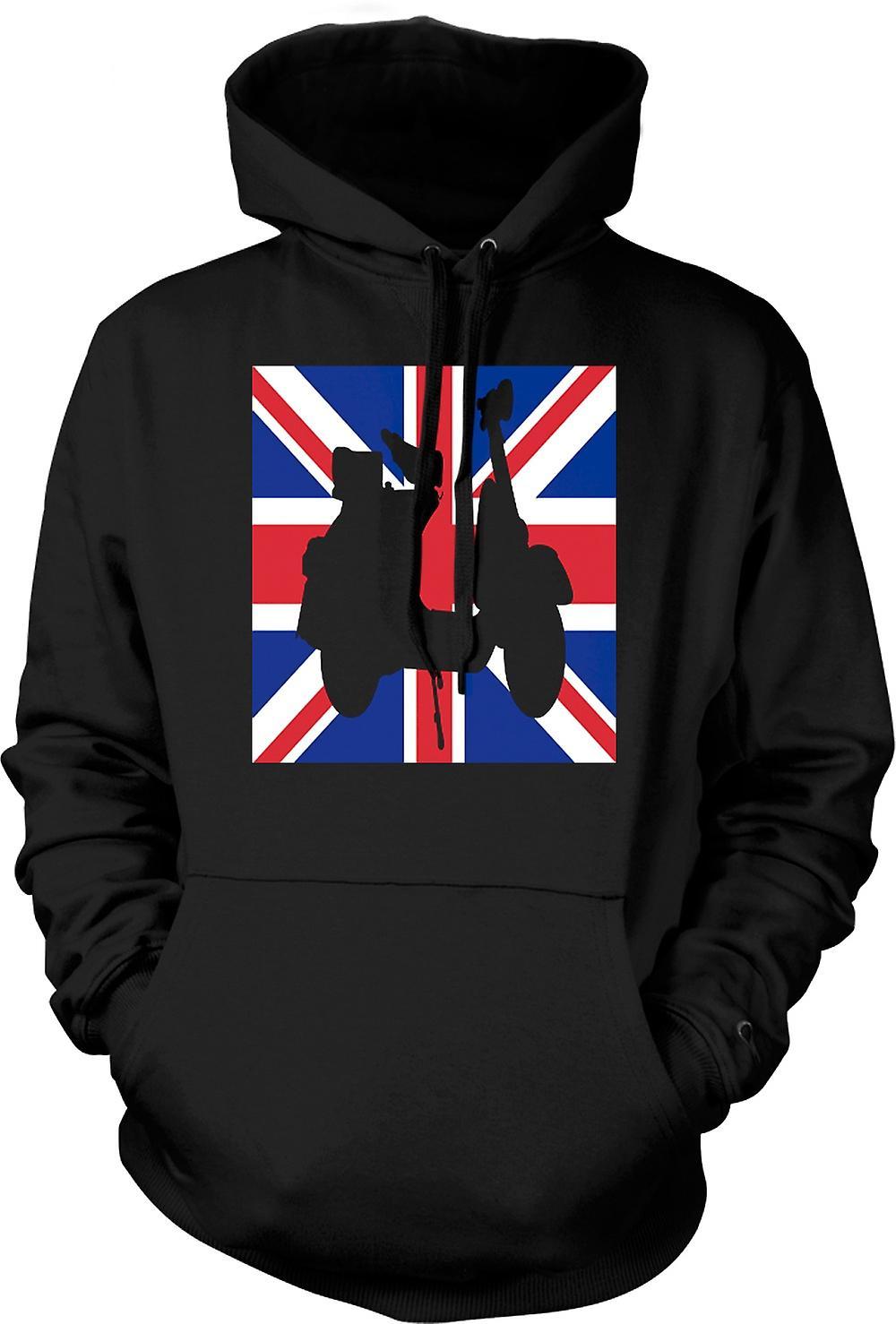 Mens Hoodie - Scooter Vespa - Union Jack