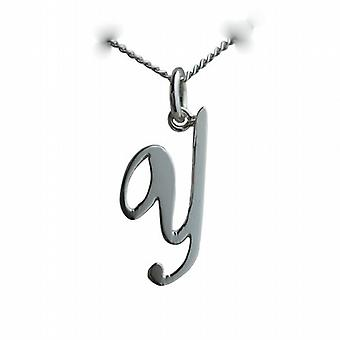 Silver 23x10mm plain Palace script Initial Y Pendant with a curb Chain 18 inches