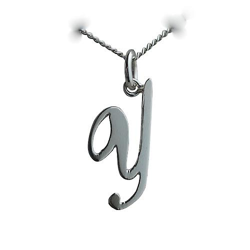 Silver 23x10mm plain Palace script Initial Y Pendant with a curb chain