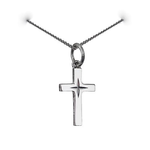 9ct white gold 15x9mm diamond cut star solid block Cross with a curb chain