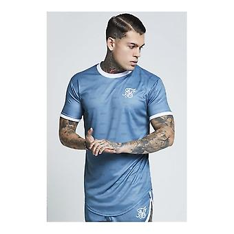 Sik Silk Teal Shadow Silk Curved Hem T-shirt