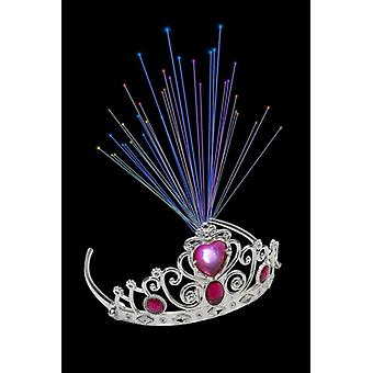Fibre Optic Tiara mit rosa Jewels Fancy Dress Zubehör Leuchten