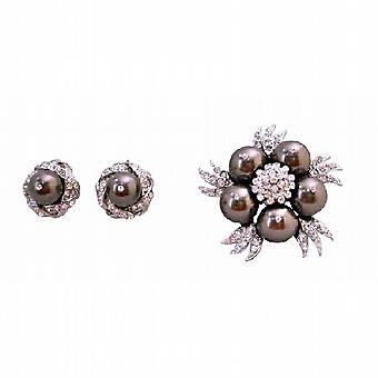 Brown Stud Earrings with Swarovski Dark Brown Chocolate Pearls Brooch