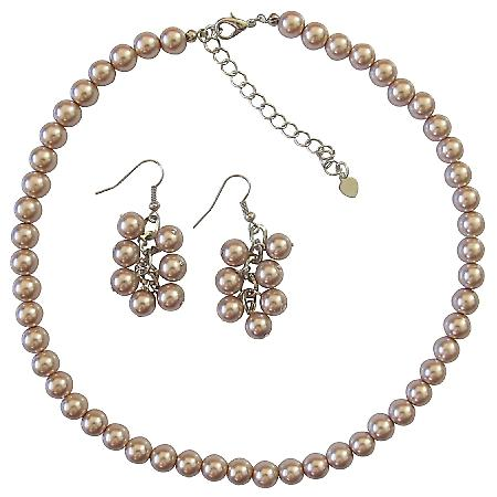 Bridal Bridesmaid Champagne Pearls Necklace Set w/ Bunch Of Grape Earrings Inexpensive Under Jewelry Set