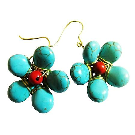 Cute Turquoise Curved Flower Earrings Coral Bead Gold Oxidized Hook