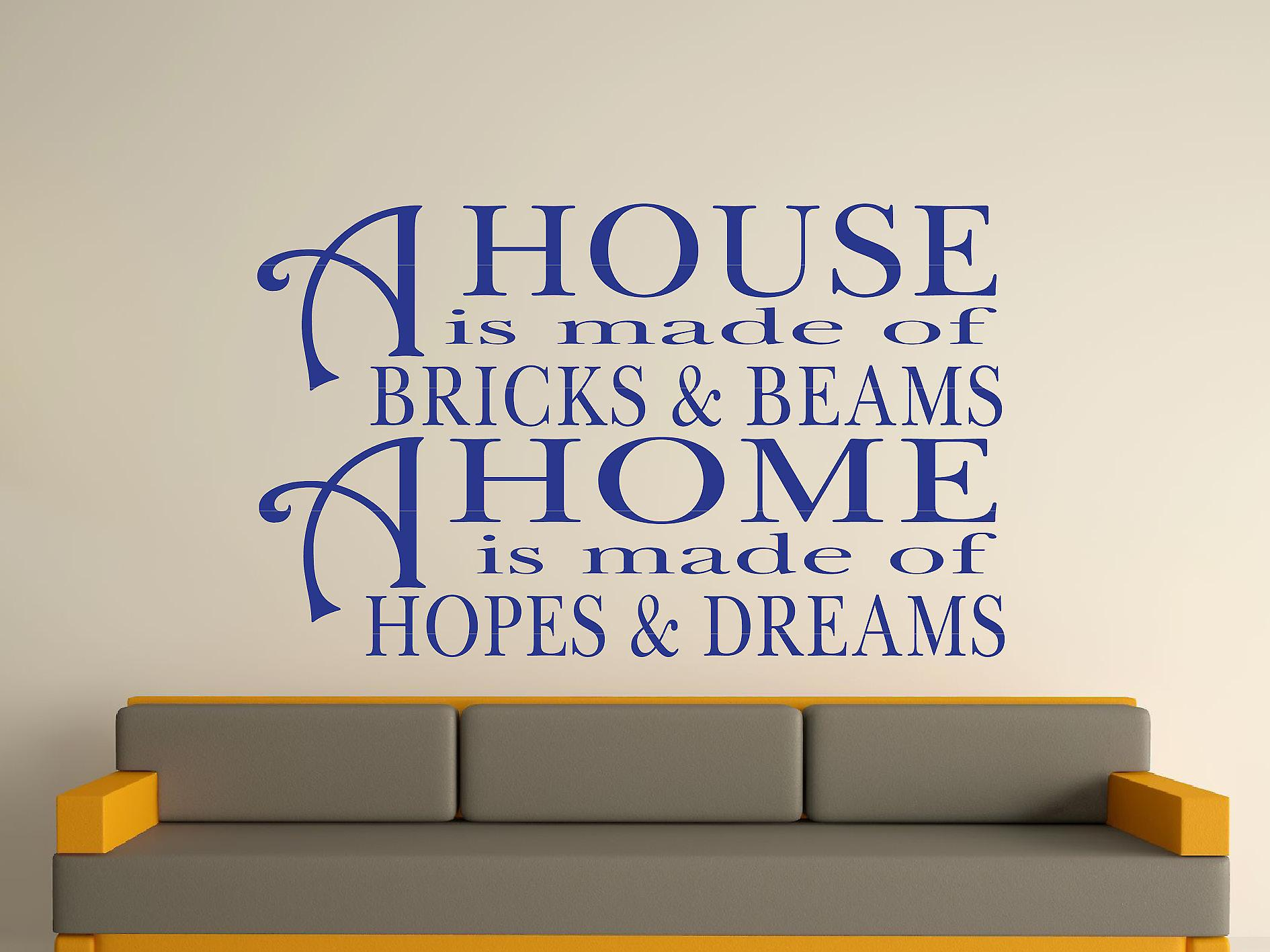 A House Is Made Of Bricks And Beams v2 Wall Art Sticker - Dark Blue