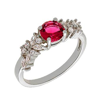 Bertha Juliet Collection Women's 18k WG Plated Red Cluster Fashion Ring Size 8