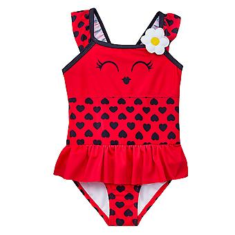 Girls red novelty ladybird swimming costume