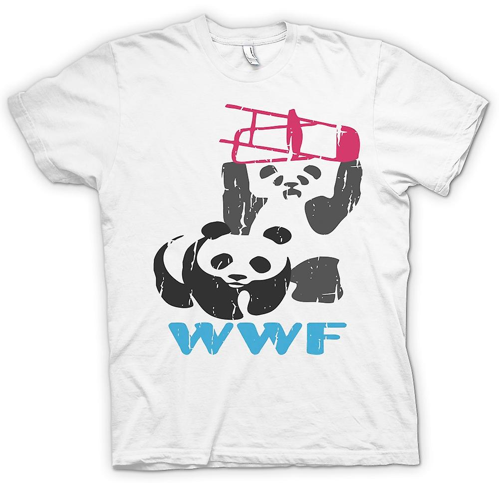 Womens T-shirt - WWF Pandas Wrestling - Smashing Chairs