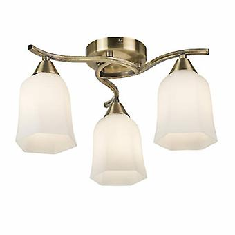 3 luz semi flush multi brazo techo luz de latón antiguo, vidrio de ópalo