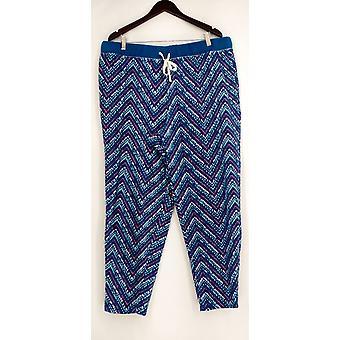 Cuddl Duds lounge broek, slaap shorts fleece gedrukt blauw A297368