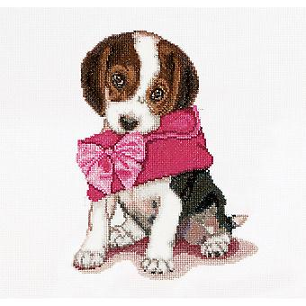 Puppy Love On Aida Counted Cross Stitch Kit 12 1 4