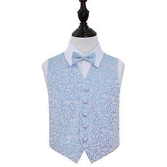 Boy's Baby Blue Swirl Patterned Wedding Waistcoat & Bow Tie Set