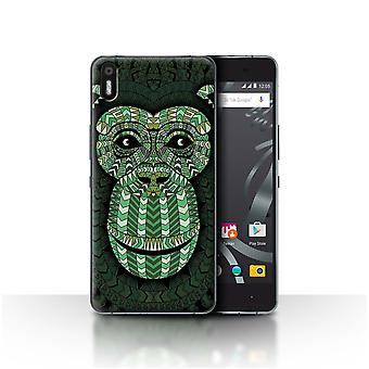 STUFF4 Case/Cover for BQ Aquaris X5/Monkey-Green/Aztec Animal