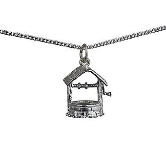 Silver 15x13mm Wishing Well Pendant with a rolo Chain 24 inches