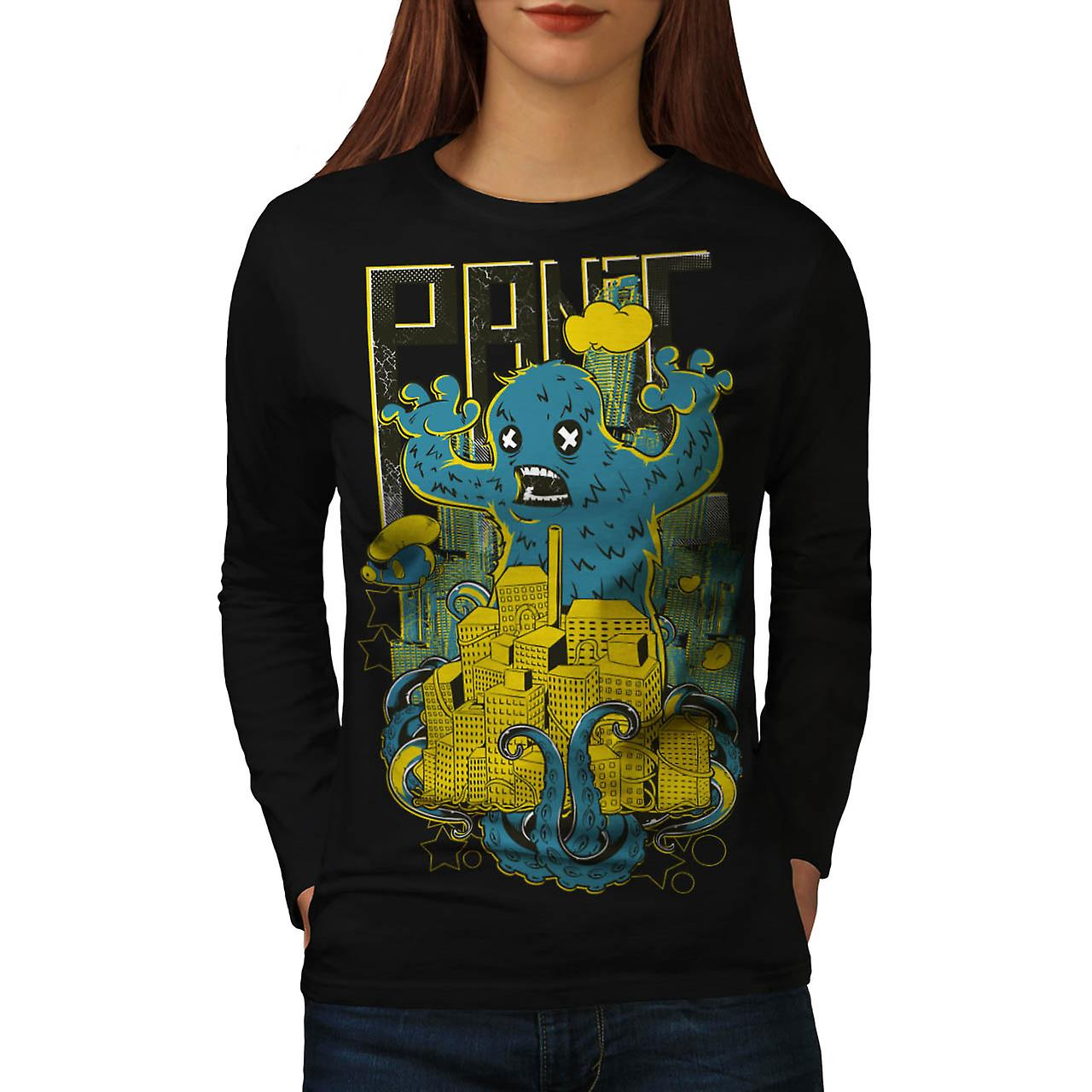 Panic City Monster Chaos Life Women Black Long Sleeve T-shirt | Wellcoda