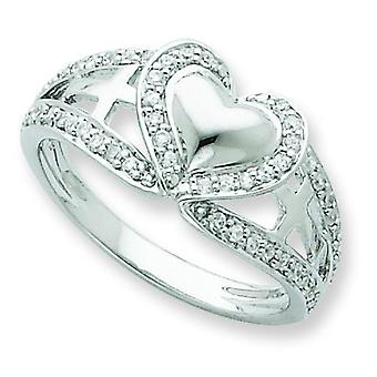 Sterling Silver and Cubic Zirconia Heart Ring - Ring Size: 6 to 8
