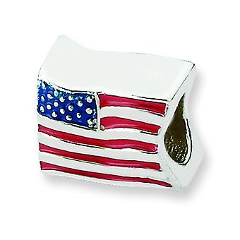 Sterling Silver Reflections Usa Flag Bead Charm