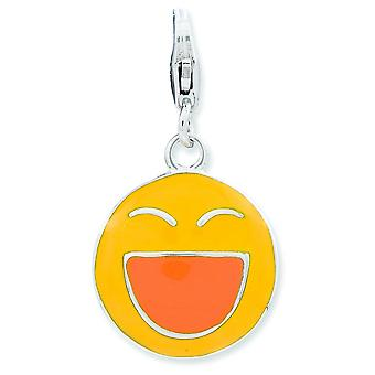 Sterling Silver Enameled 3-d Laughing Face With Lobster Clasp Charm - 2.3 Grams